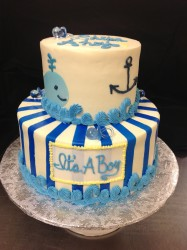 Nautical Blue Baby Boy 2 tier cake Shower Cake