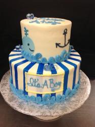 Nautical Blue Baby Boy 2 tier cake Shower Cake